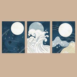 Модульная картина волны и луна  - фото