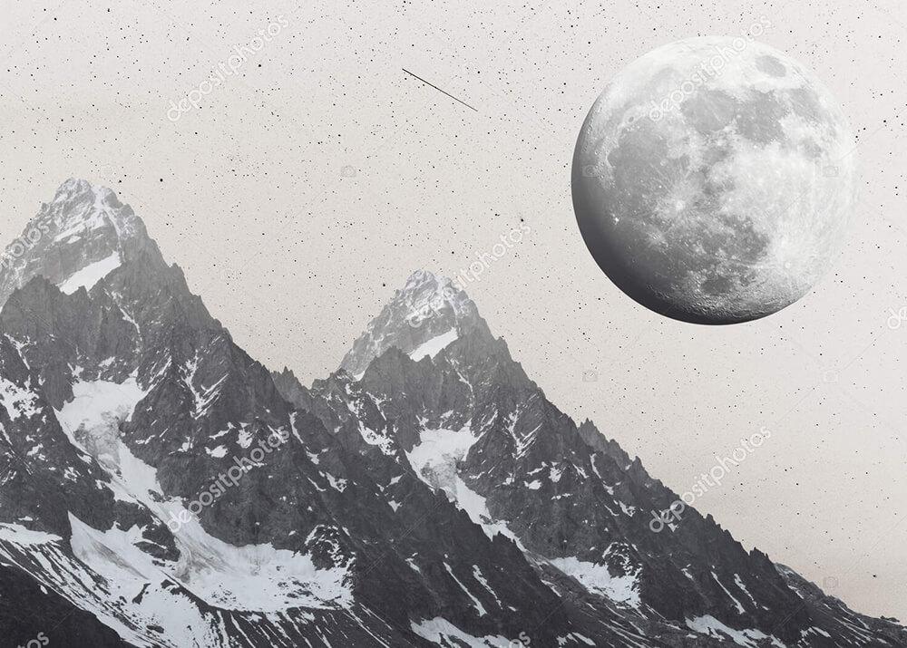 Постер Горы и полная Луна  - фото