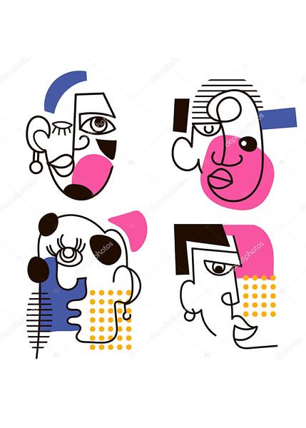 Постер абстрактные лица  - фото