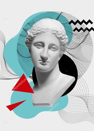 Постер коллаж современного и античного искусства  - фото
