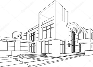 Постер линейный рисунок архитектуры  - фото