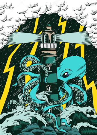 Постер осьминог  - фото