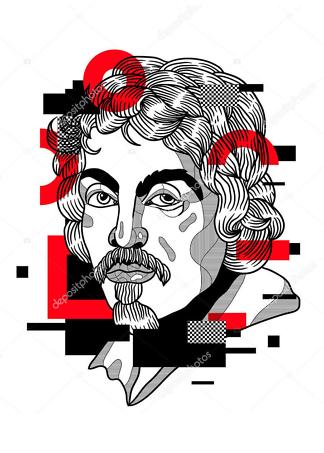 Постер портрет красное с черным  - фото