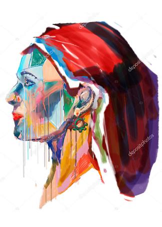 Постер разноцветный портрет  - фото