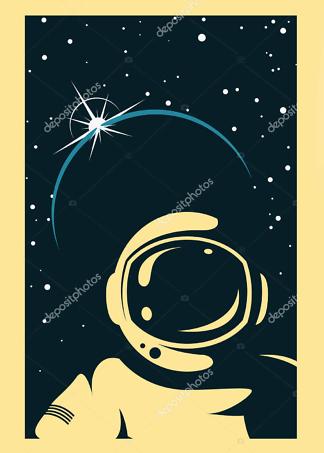 Постер ретро Космонавт  - фото