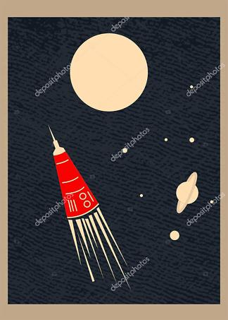 Постер ретро космос  - фото