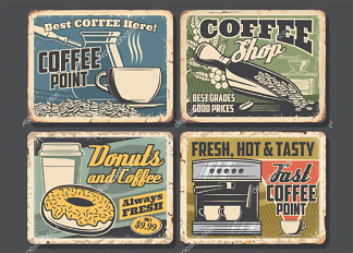 Постер старые вывески Coffee  - фото