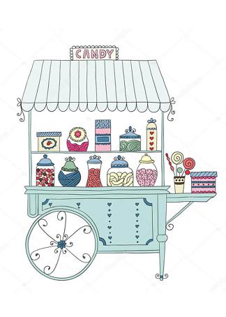 Постер тележка со сладостями  - фото