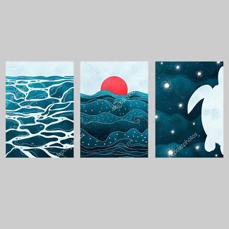 Постер закат над морем  - фото